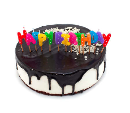 cake with happy birthday candles isolated on white background Stock Photo