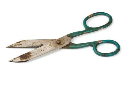antique scissors: old scissors isolated on white