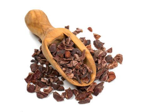 cacao: cocoa nibs isolated on white Stock Photo