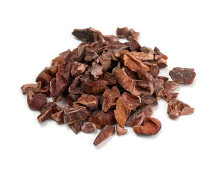 cocoa bean: cocoa nibs isolated on white Stock Photo