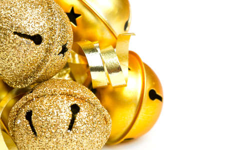 Christmas golden bells and ribbons