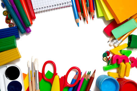 school supplies on white background photo