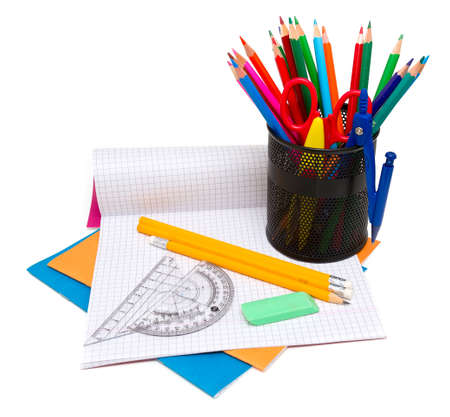 school supplies on white background photo