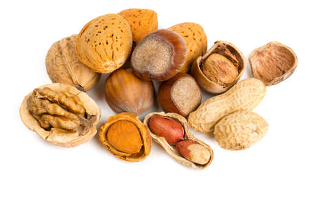 collection of shelled nuts isolated on white photo