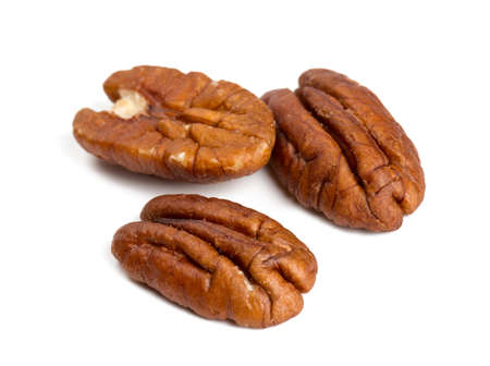 un healthy: pecan nuts isolated on white background Stock Photo
