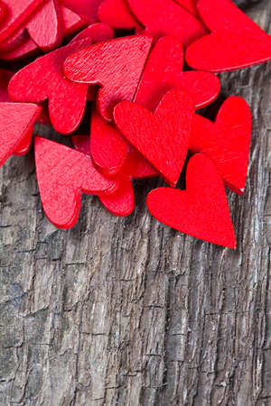 saint valentines day: red hearts on rustic wooden surface Stock Photo