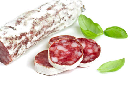 sliced salami isolated on white backrgound photo