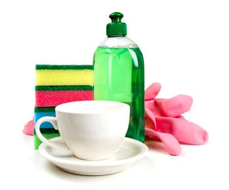 lavar platos: herramientas para lavavajillas y taza limpia Foto de archivo
