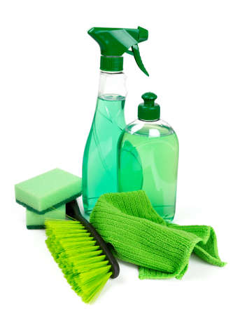 solvent: cleaning tools isolated on white
