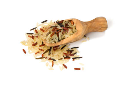 rice mix in a wooden scoop photo