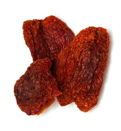 domates: dried tomatoes isolated on white background Stock Photo