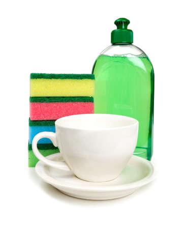 dishwashing: herramientas para lavavajillas y taza limpia Foto de archivo