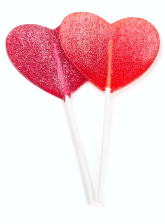 two heart-shaped lollipop of valentines day isolated on white  photo