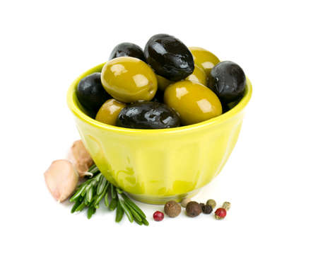 pitted: black and green olives over white Stock Photo