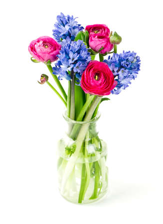 spring bouquet in glass vase photo