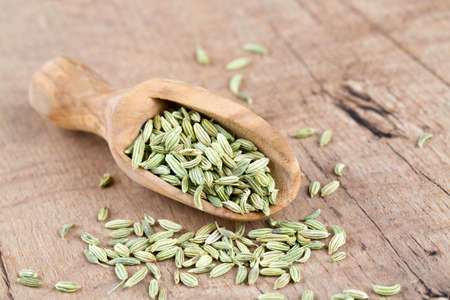 fennel seed: fennel seed in a wooden scoop on table