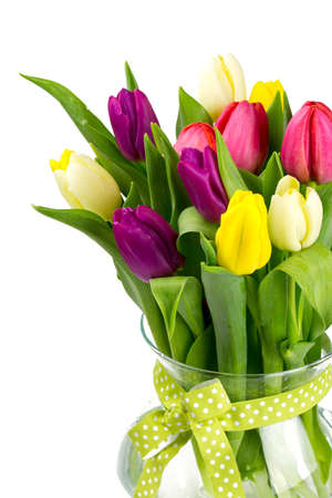 vase with tulips isolated on white photo