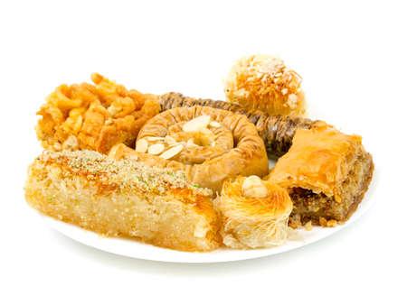 turkish sweets on white background photo
