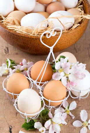beautiful farm eggs and apple blossoms on wooden surface photo