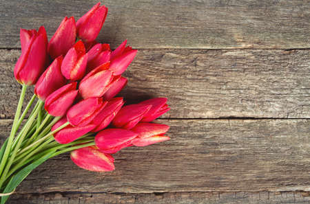 bunch of red tulips on wooden surface photo