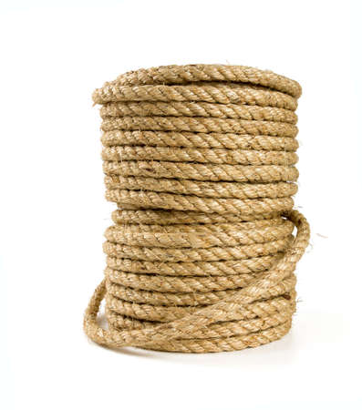 roll of jute rope isolated on white background photo
