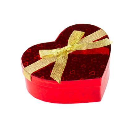 heart-shaped gift box isolated on white photo