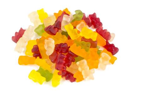 gummy bears over white