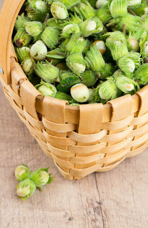 hazelnuts in a basket photo