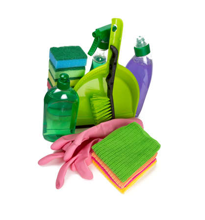 colorful cleaning set isolated on white photo