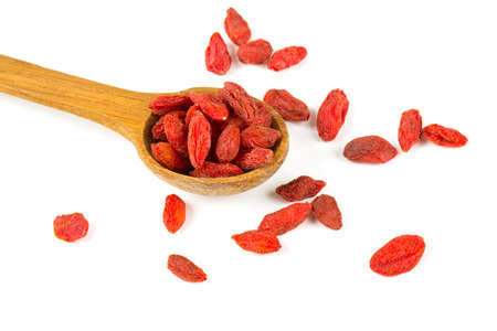 lycium: dried goji berries isolated on white