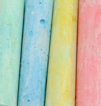 white chalks: chalks in a variety of colors over white