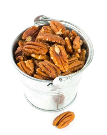 pecan nuts in a bucket