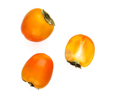tannins: persimmon isolated on white Stock Photo