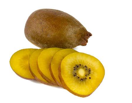 golden kiwi isolated on white photo