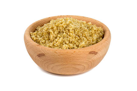 cooked quinoa in a bowl isolated