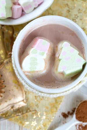 festive hot chocolate and marshmallows photo