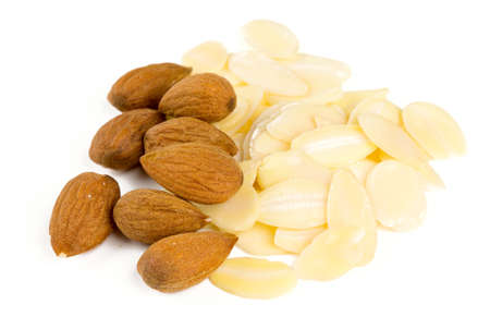 sliced almond isolated on white Stock Photo