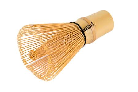 whisk: bamboo whisk isolated on white
