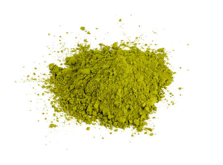 maccha: pile of Matcha tea isolated on white