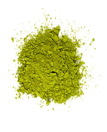 pile of Matcha tea isolated on white