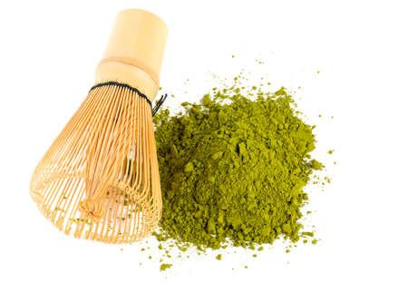 Poudre de thé vert Matcha et fouet en bambou Banque d'images - 35577305