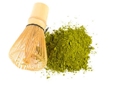 powdered green tea Matcha and bamboo whisk