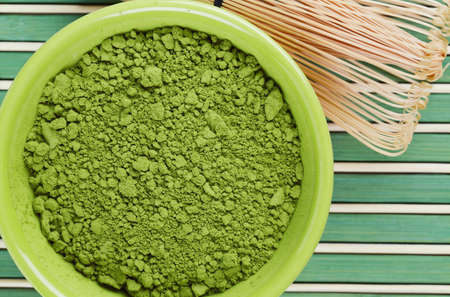 maccha: powdered green tea Matcha and bamboo whisk