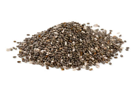 brown white: chia seeds isolated on white