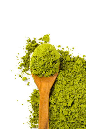 green drink powder: Matcha tea isolated on white