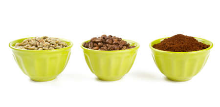 unroasted: green, roasted and ground coffee Stock Photo