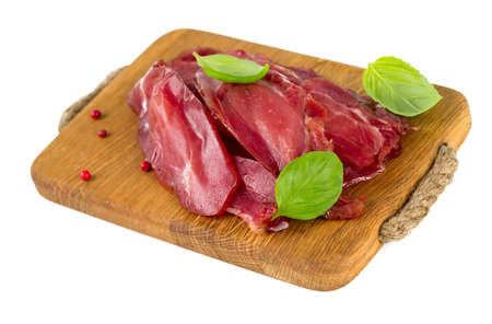 smoked turkey meat isolated on white