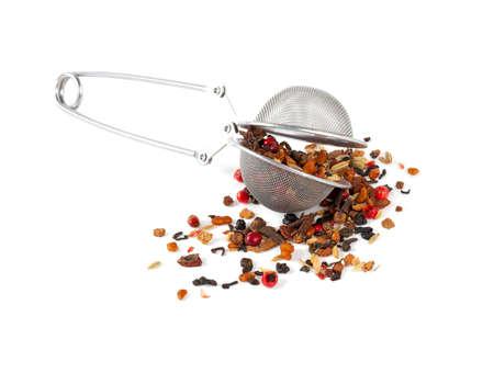 myrobalan: Ayrvedic Tea isolated on white Stock Photo