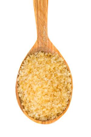 gelatine: crystals of gelatine in a wooden spoon Stock Photo