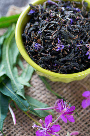 fireweed: fireweed tea on wooden surface